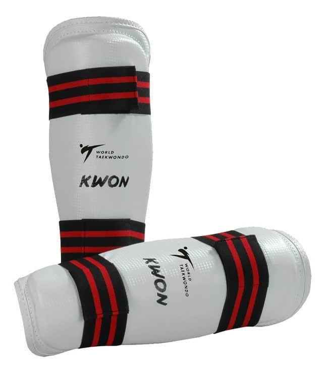 Kwon Schienbeinschützer Evolution weiß WT CE Taekwondo Kickboxen