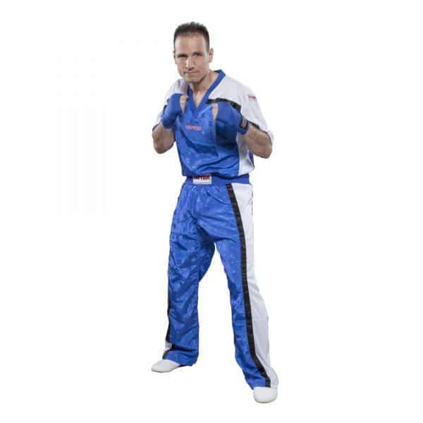 Top Ten Kickboxhose Mesh Blau-Weiß
