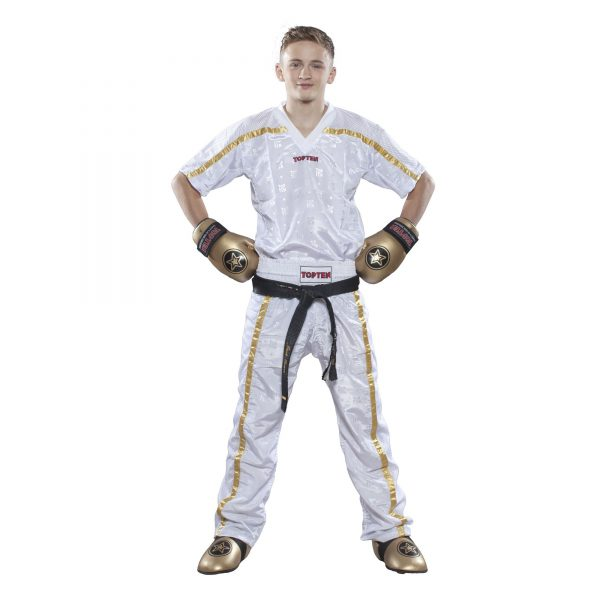 Top Ten Kickboxhose Mesh Weiß-Gold