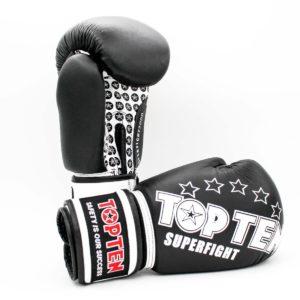 Kampfsport Ausrüstung TOP TEN Boxhandschuhe Superfight 3000 Schwarz