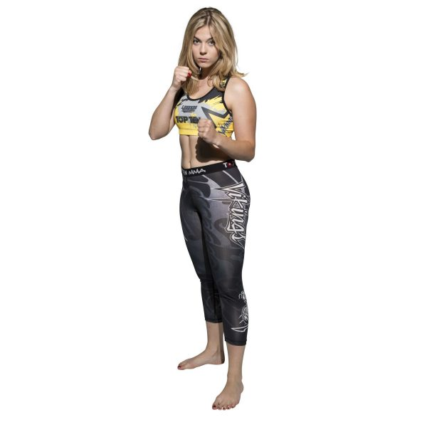 Top Ten MMA Compression Legging Vikings für Frauen Grau Gelb