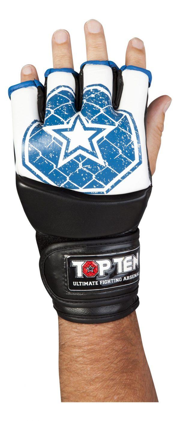 Top Ten MMA Ultimate Fight Gloves Octagon Weiß-Blau