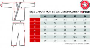 BJJ GI Size Chart TOP TEN Mohicans