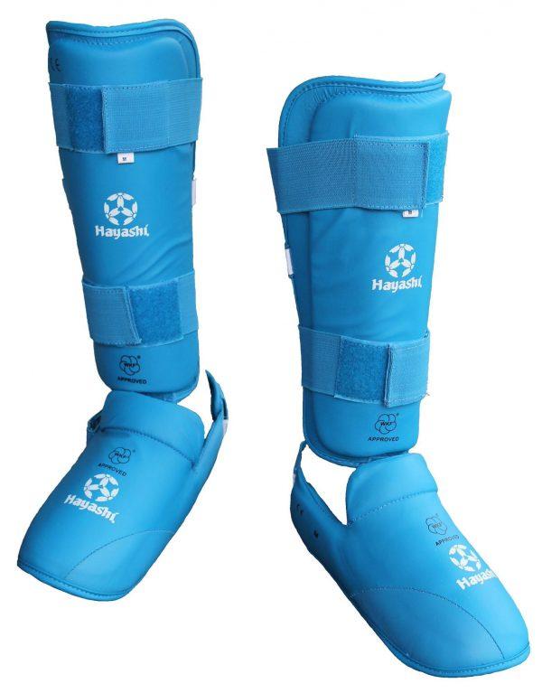 Hayashi Karate Schienbein- und Spannschutz Approved by WKF blau