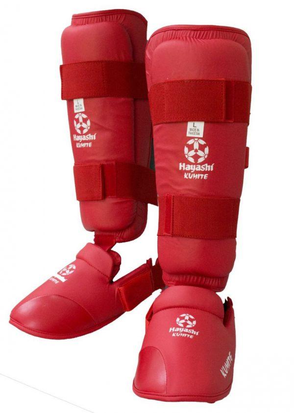 Hayashi Karate Schienbein- und Spannschutz rot