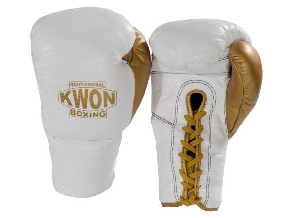 Kwon Boxhandschuhe Leder mit Schnürung Weiß-Gold