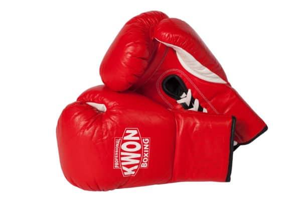 KWON Boxhandschuhe Leder mit Schnürung Rot