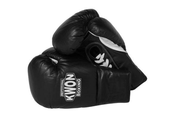 KWON Boxhandschuhe Leder mit Schnürung Schwarz