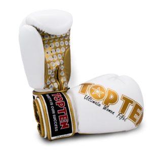 TOP TEN Boxhandschuhe Woman für Frauen Weiß-Gold