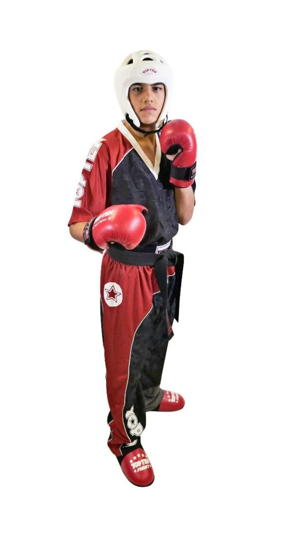 TOP TEN Kickbox Uniform Bow Schwarz-Rot