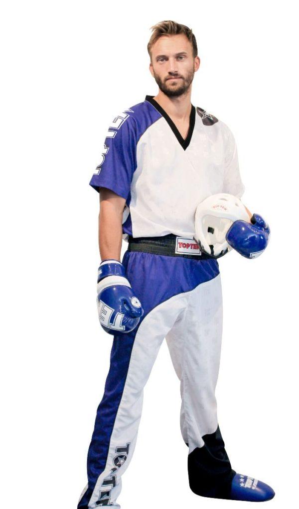 TOP TEN Kickbox Uniform Bow Weiß-Blau